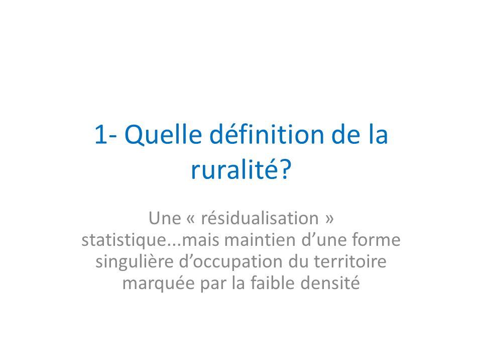 1- Quelle définition de la ruralité? Une « résidualisation » statistique...mais maintien dune forme singulière doccupation du territoire marquée par l