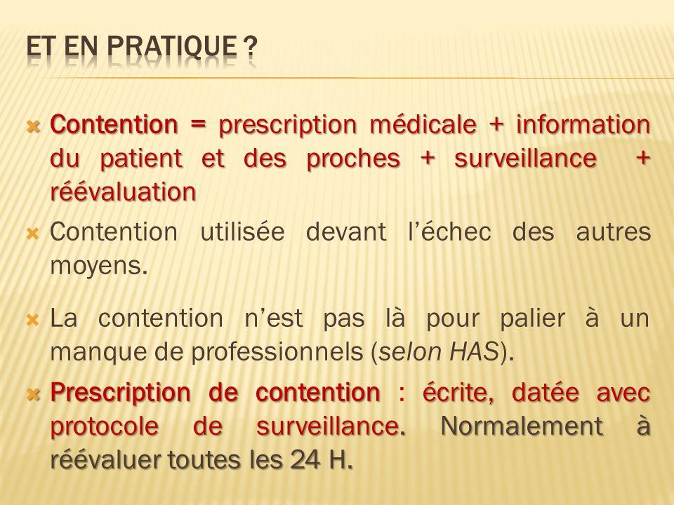 Contention = prescription médicale + information du patient et des proches + surveillance + réévaluation Contention = prescription médicale + informat