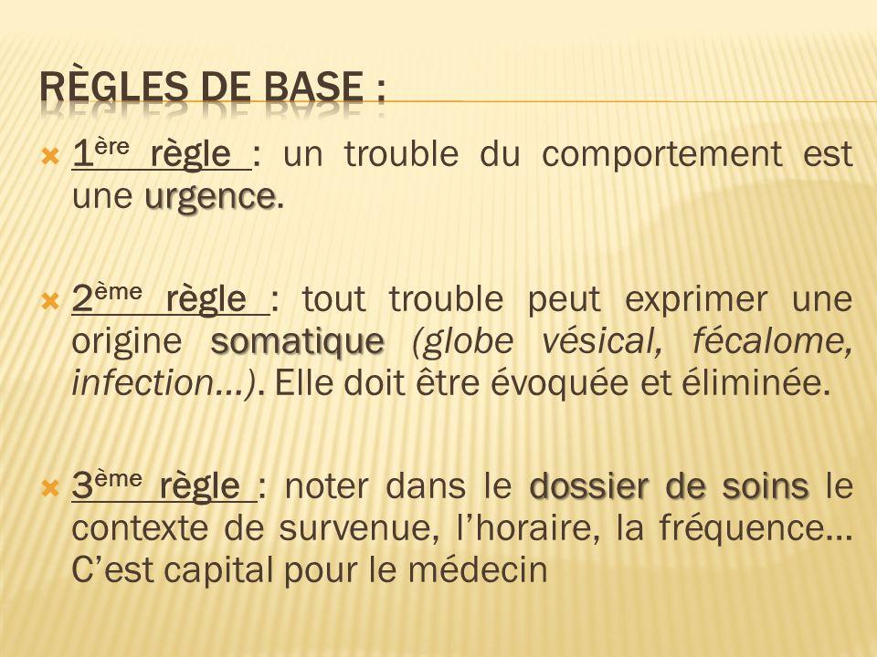 urgence 1 ère règle : un trouble du comportement est une urgence. somatique 2 ème règle : tout trouble peut exprimer une origine somatique (globe vési