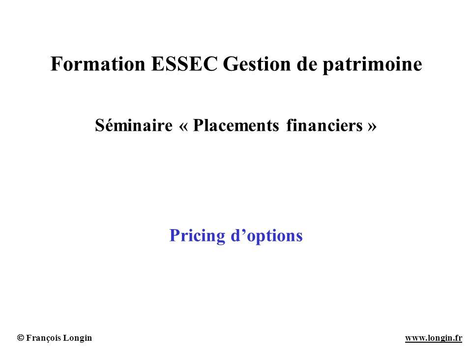 François Longin www.longin.frwww.longin.fr Formation ESSEC Gestion de patrimoine Séminaire « Placements financiers » Pricing doptions