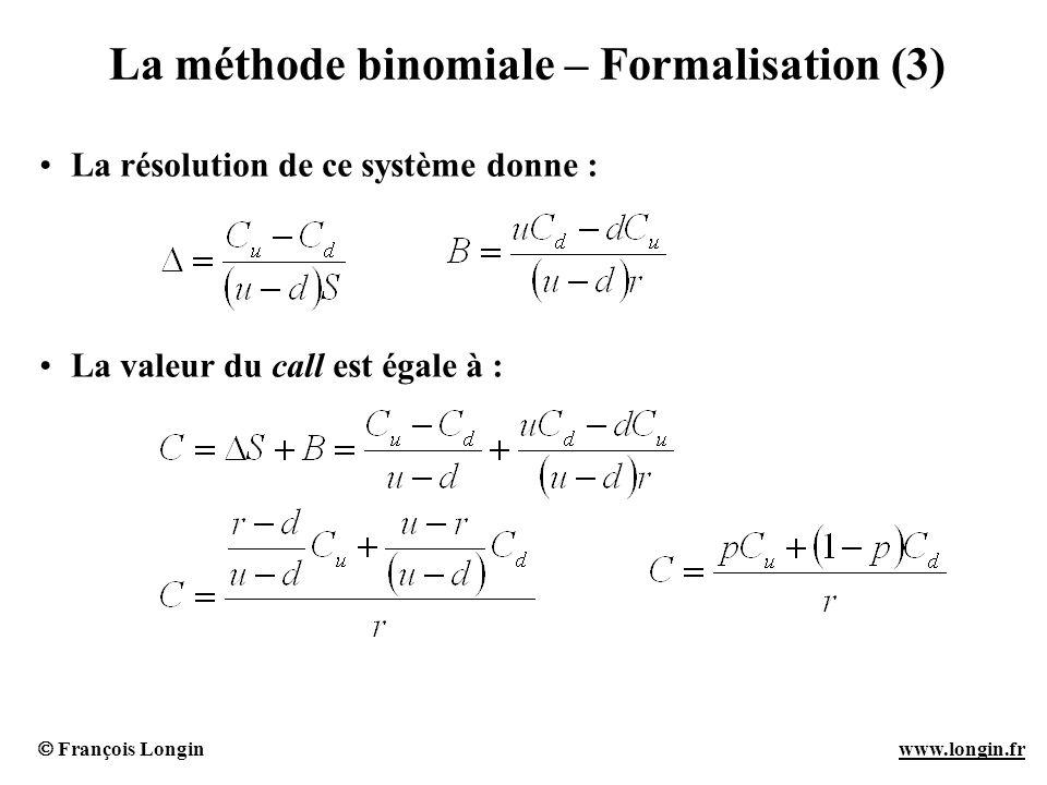 François Longin www.longin.frwww.longin.fr La méthode binomiale – Formalisation (3) La résolution de ce système donne : La valeur du call est égale à