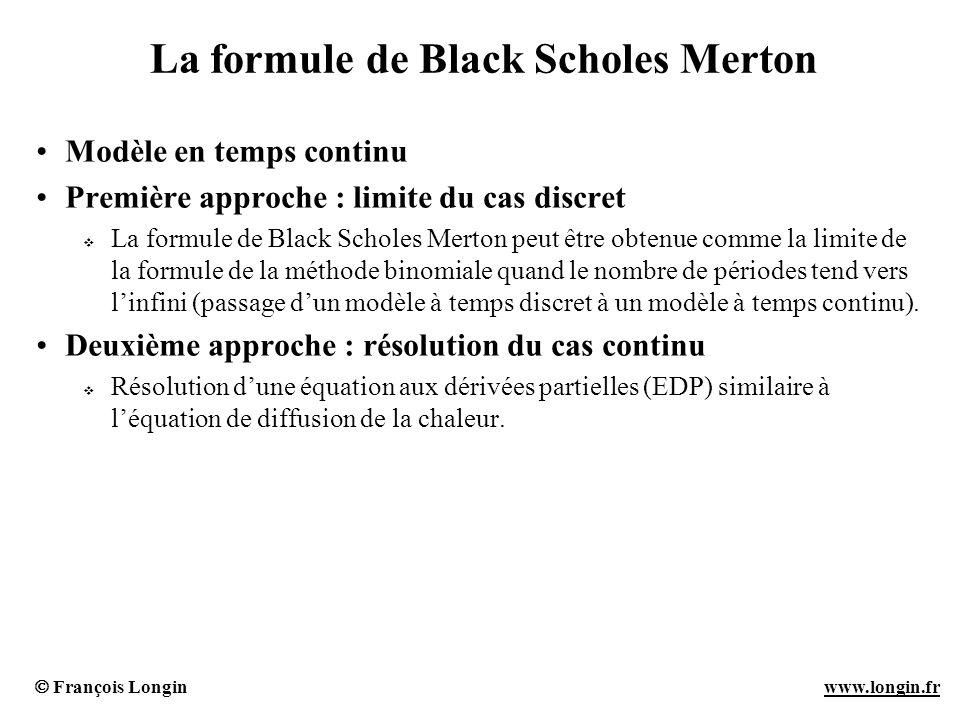 François Longin www.longin.frwww.longin.fr La formule de Black Scholes Merton Modèle en temps continu Première approche : limite du cas discret La for