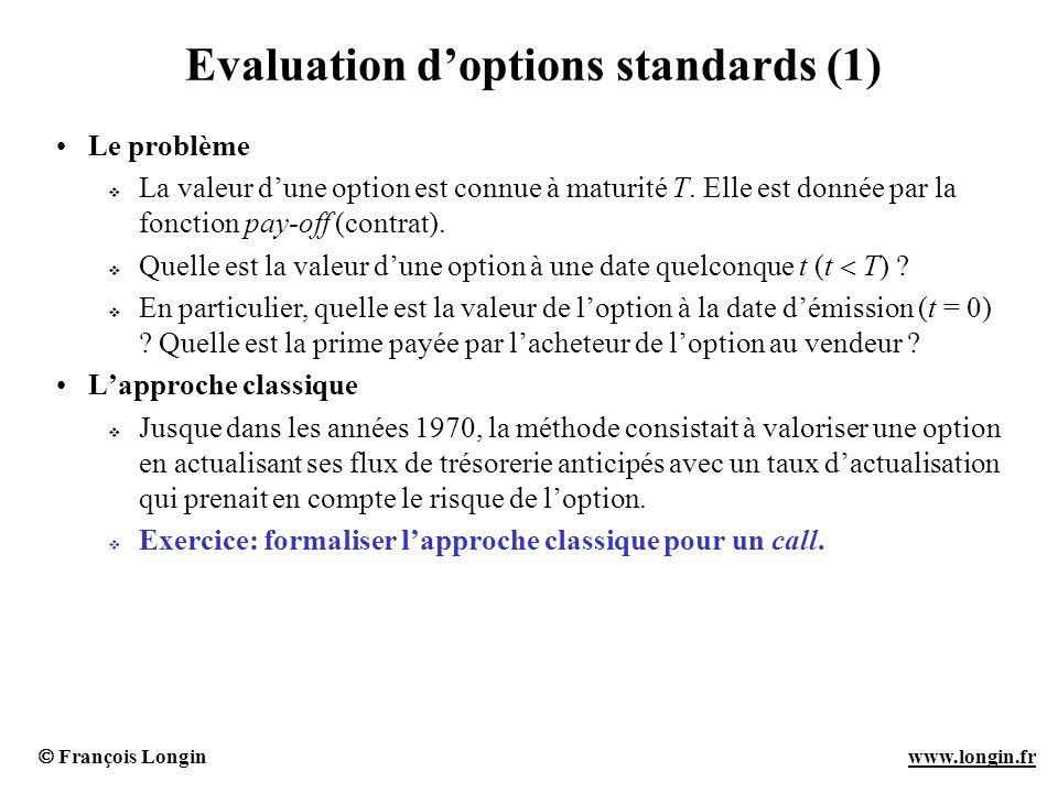 François Longin www.longin.frwww.longin.fr Evaluation doptions standards (2) Le raisonnement darbitrage Si deux produits financiers présentent les mêmes flux quelque soit lévolution du marché, alors ils ont le même prix.