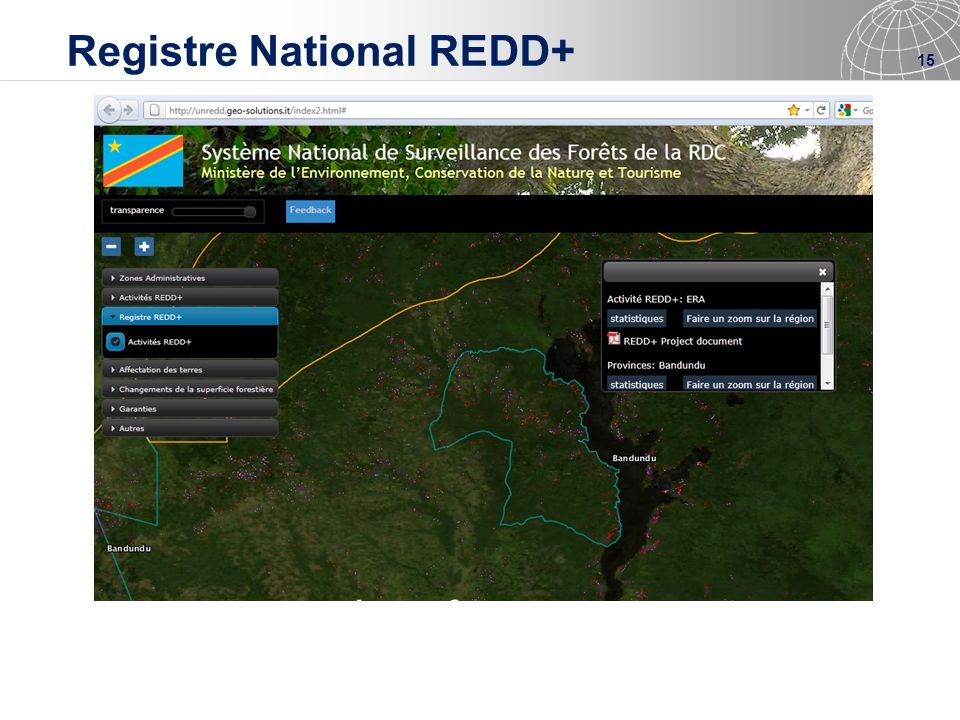 15 Registre National REDD+ www.rdc-snsf.org