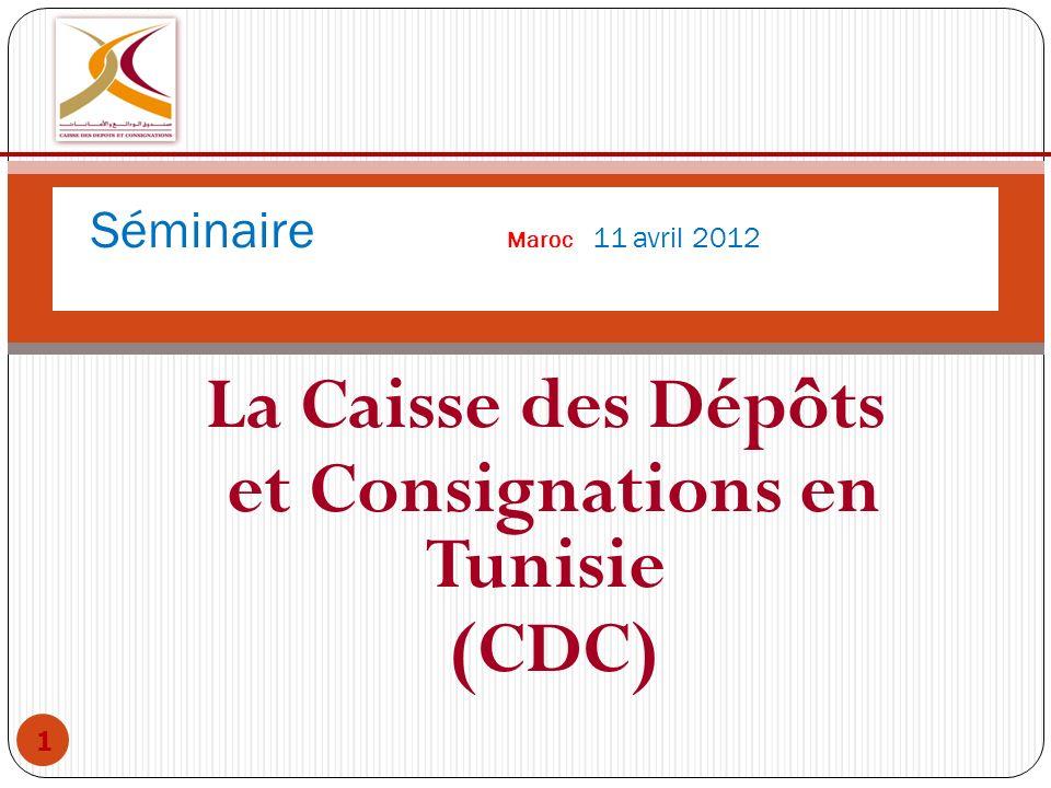 La Caisse des Dépôts et Consignations en Tunisie (CDC) 1 Séminaire Maroc 11 avril 2012