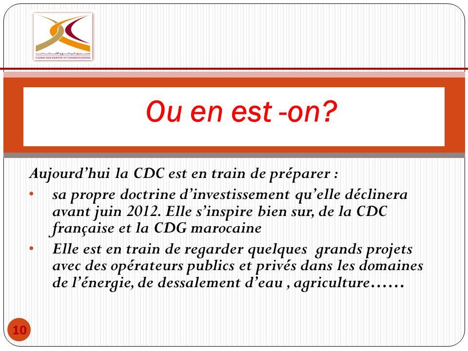 Aujourdhui la CDC est en train de préparer : sa propre doctrine dinvestissement quelle déclinera avant juin 2012. Elle sinspire bien sur, de la CDC fr