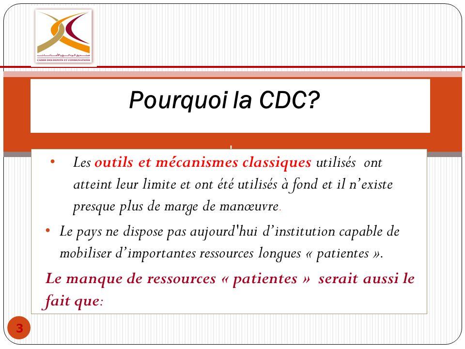 Pourquoi la CDC? l Les outils et mécanismes classiques utilisés ont atteint leur limite et ont été utilisés à fond et il nexiste presque plus de marge