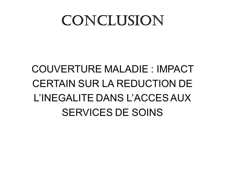 CONCLUSION COUVERTURE MALADIE : IMPACT CERTAIN SUR LA REDUCTION DE LINEGALITE DANS LACCES AUX SERVICES DE SOINS