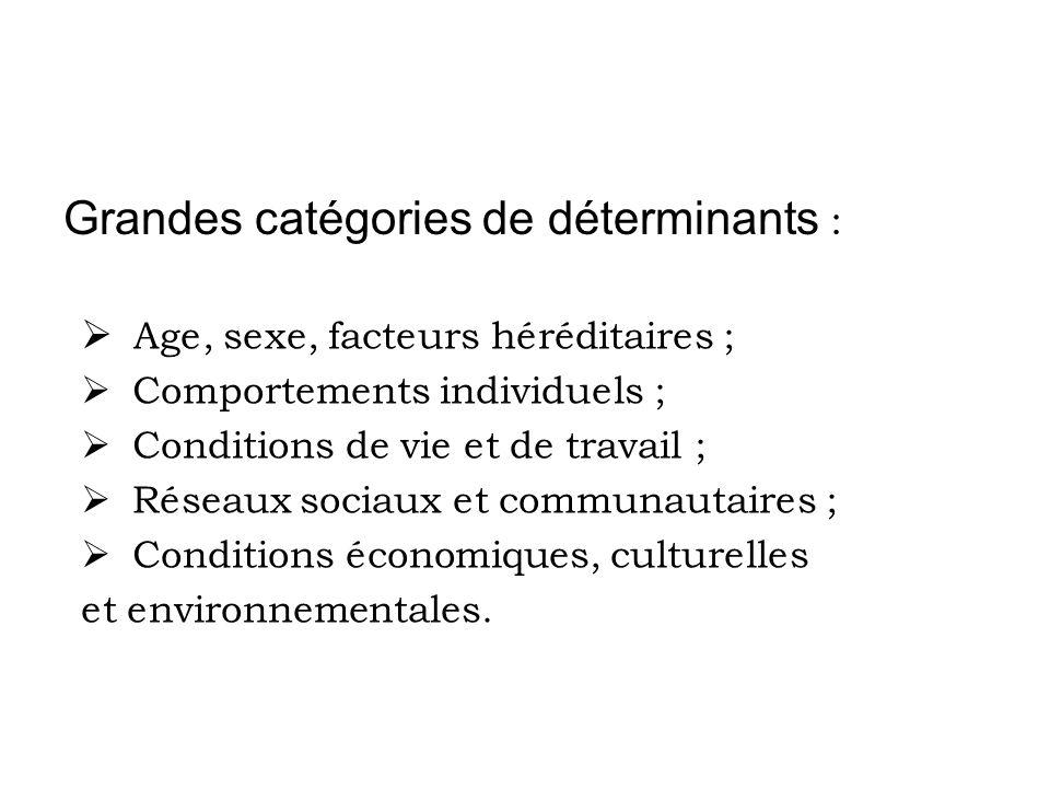 Grandes catégories de déterminants : Age, sexe, facteurs héréditaires ; Comportements individuels ; Conditions de vie et de travail ; Réseaux sociaux et communautaires ; Conditions économiques, culturelles et environnementales.