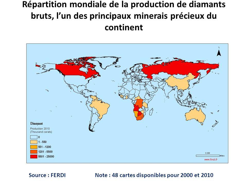 Répartition mondiale de la production de diamants bruts, lun des principaux minerais précieux du continent Source : FERDI Note : 48 cartes disponibles pour 2000 et 2010