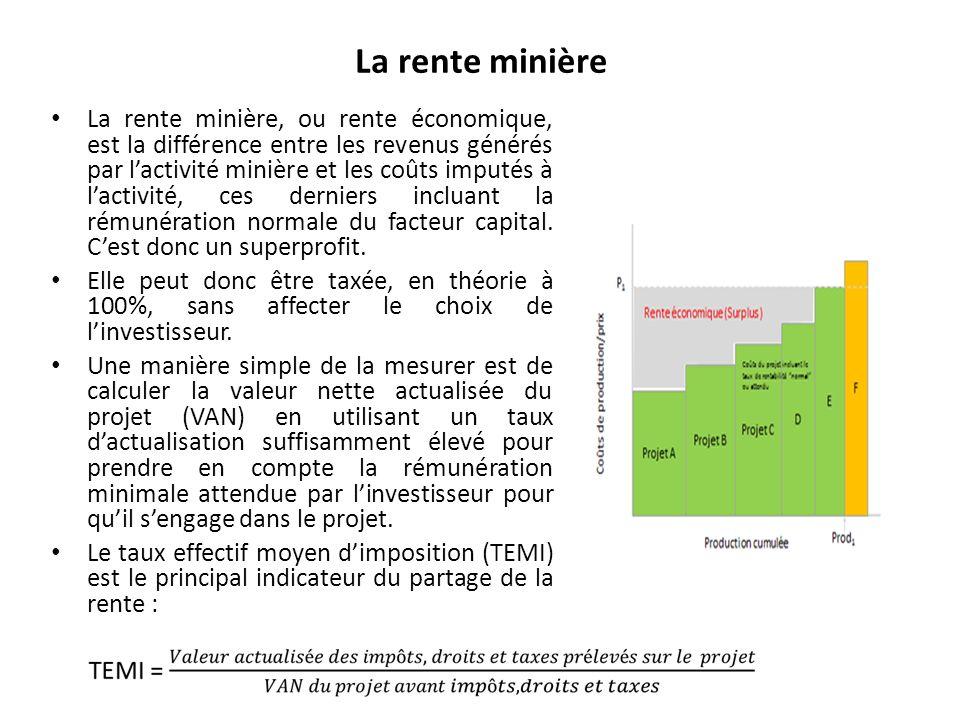 La rente minière La rente minière, ou rente économique, est la différence entre les revenus générés par lactivité minière et les coûts imputés à lactivité, ces derniers incluant la rémunération normale du facteur capital.