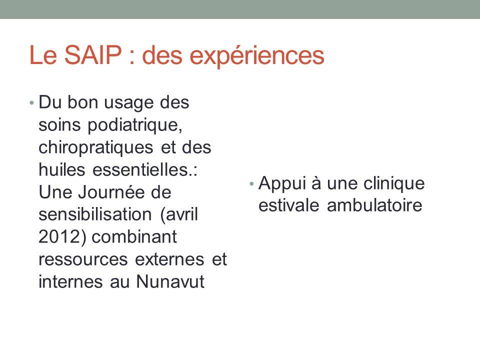 Le SAIP : des expériences Du bon usage des soins podiatrique, chiropratiques et des huiles essentielles.: Une Journée de sensibilisation (avril 2012)