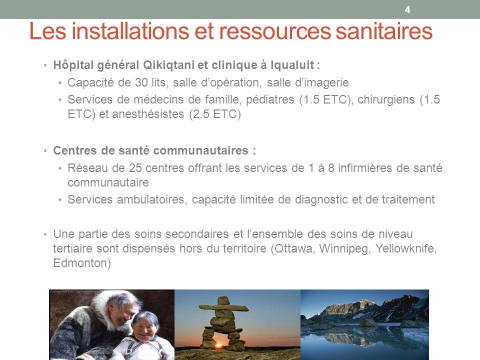 Les installations et ressources sanitaires Hôpital général Qikiqtani et clinique à Iqualuit : Capacité de 30 lits, salle dopération, salle dimagerie Services de médecins de famille, pédiatres (1.5 ETC), chirurgiens (1.5 ETC) et anesthésistes (2.5 ETC) Centres de santé communautaires : Réseau de 25 centres offrant les services de 1 à 8 infirmières de santé communautaire Services ambulatoires, capacité limitée de diagnostic et de traitement Une partie des soins secondaires et lensemble des soins de niveau tertiaire sont dispensés hors du territoire (Ottawa, Winnipeg, Yellowknife, Edmonton) 4