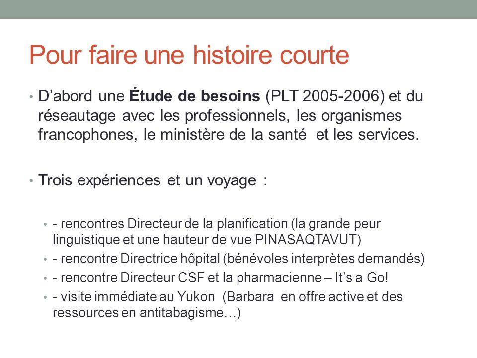 Pour faire une histoire courte Dabord une Étude de besoins (PLT 2005-2006) et du réseautage avec les professionnels, les organismes francophones, le m