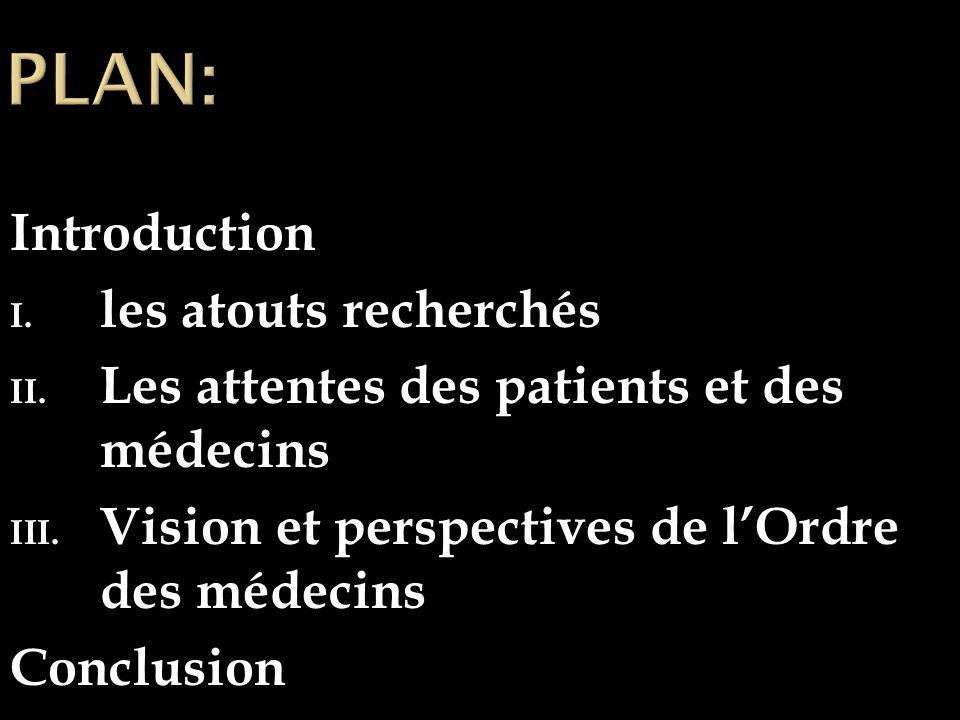 Introduction I. les atouts recherchés II. Les attentes des patients et des médecins III.