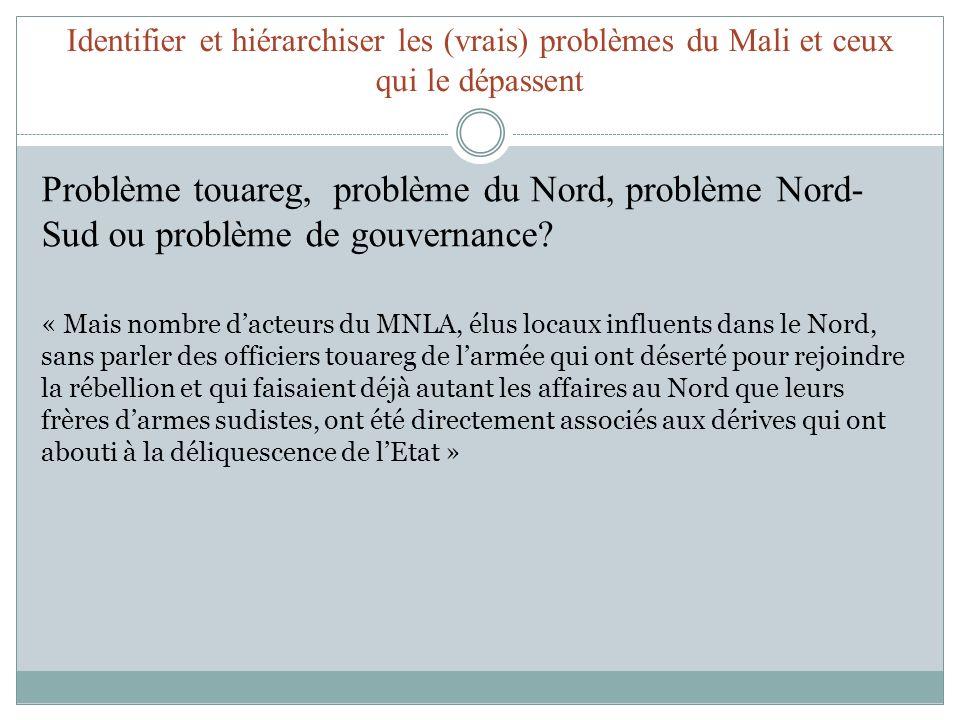 Identifier et hiérarchiser les (vrais) problèmes du Mali et ceux qui le dépassent Problème touareg, problème du Nord, problème Nord- Sud ou problème d