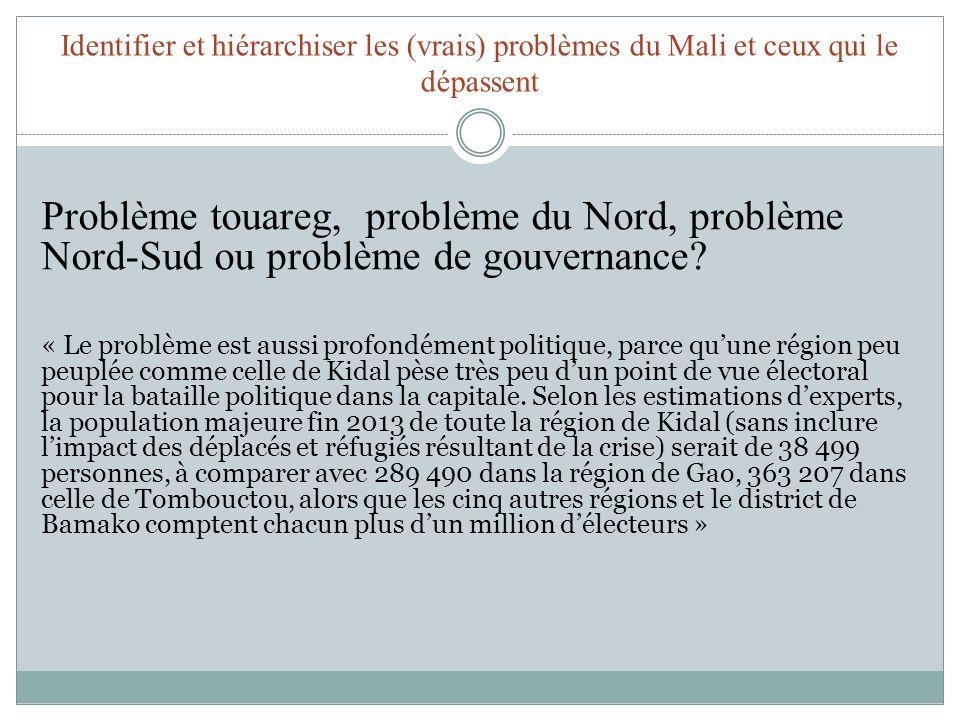 Identifier et hiérarchiser les (vrais) problèmes du Mali et ceux qui le dépassent Problème touareg, problème du Nord, problème Nord-Sud ou problème de