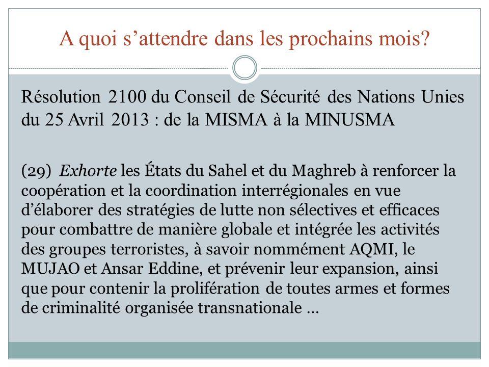 A quoi sattendre dans les prochains mois? Résolution 2100 du Conseil de Sécurité des Nations Unies du 25 Avril 2013 : de la MISMA à la MINUSMA (29) Ex