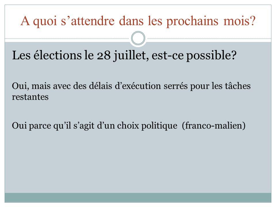 A quoi sattendre dans les prochains mois? Les élections le 28 juillet, est-ce possible? Oui, mais avec des délais dexécution serrés pour les tâches re