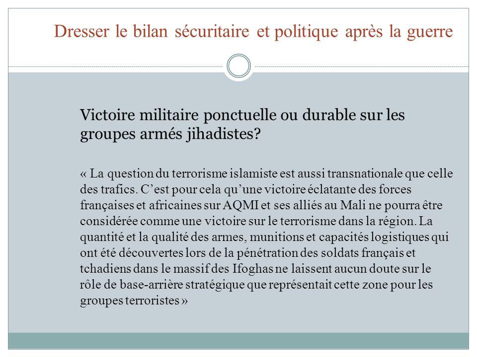 Dresser le bilan sécuritaire et politique après la guerre Victoire militaire ponctuelle ou durable sur les groupes armés jihadistes.