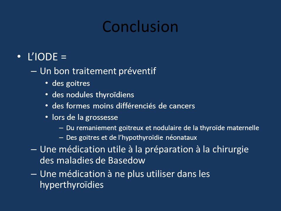 Conclusion LIODE = – Un bon traitement préventif des goitres des nodules thyroïdiens des formes moins différenciés de cancers lors de la grossesse – D
