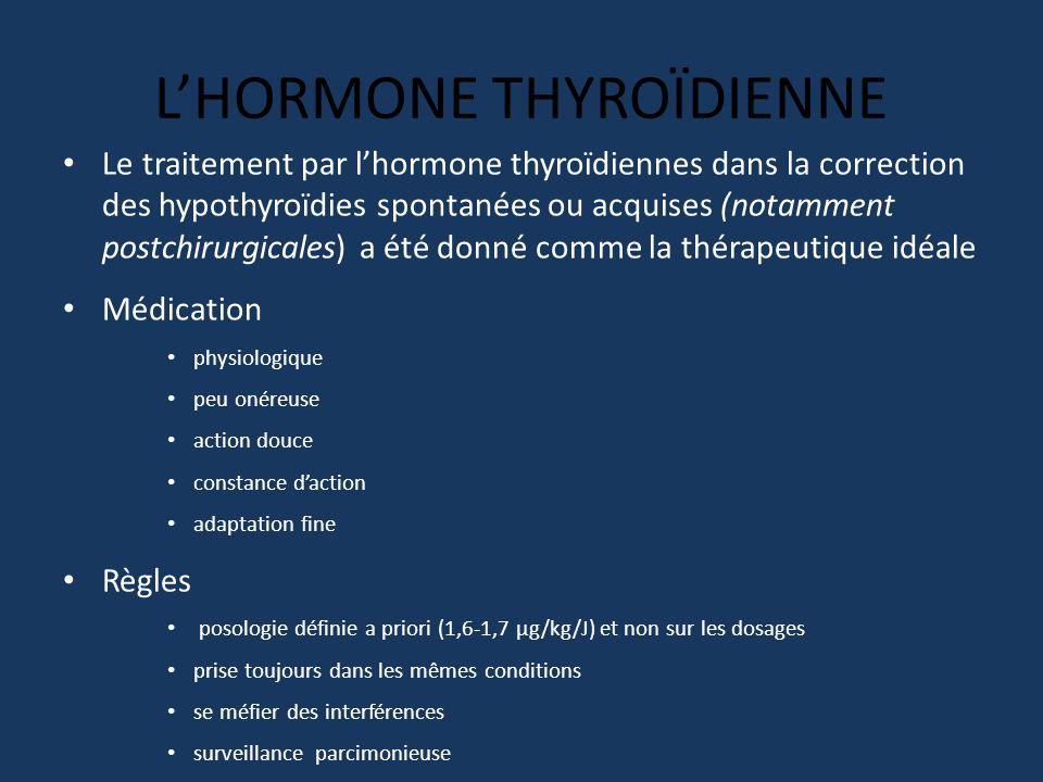 LHORMONE THYROÏDIENNE Le traitement par lhormone thyroïdiennes dans la correction des hypothyroïdies spontanées ou acquises (notamment postchirurgical