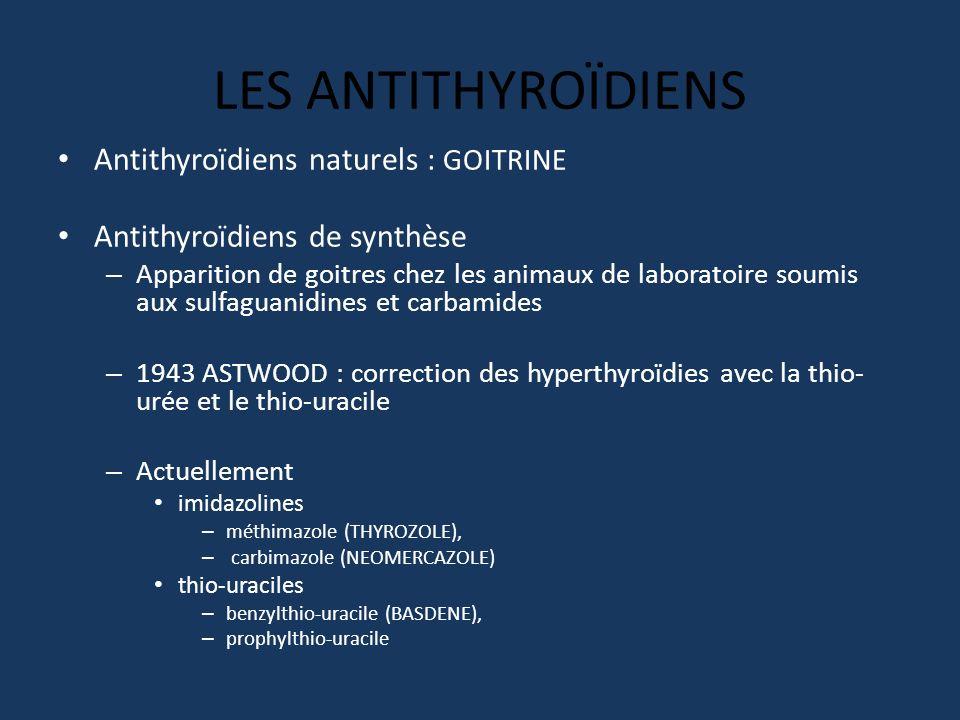LES ANTITHYROÏDIENS Antithyroïdiens naturels : GOITRINE Antithyroïdiens de synthèse – Apparition de goitres chez les animaux de laboratoire soumis aux