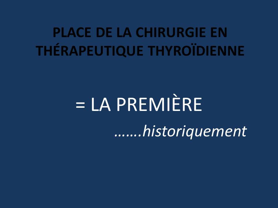 PLACE DE LA CHIRURGIE EN THÉRAPEUTIQUE THYROÏDIENNE = LA PREMIÈRE …….historiquement