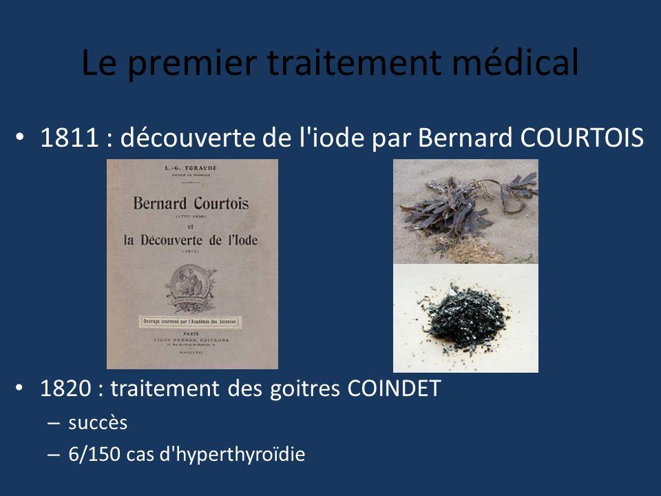 Le premier traitement médical 1811 : découverte de l'iode par Bernard COURTOIS 1820 : traitement des goitres COINDET – succès – 6/150 cas d'hyperthyro