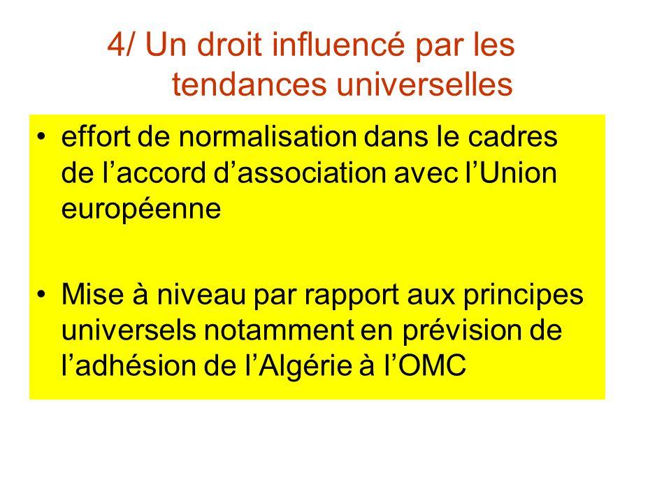 4/ Un droit influencé par les tendances universelles effort de normalisation dans le cadres de laccord dassociation avec lUnion européenne Mise à niveau par rapport aux principes universels notamment en prévision de ladhésion de lAlgérie à lOMC