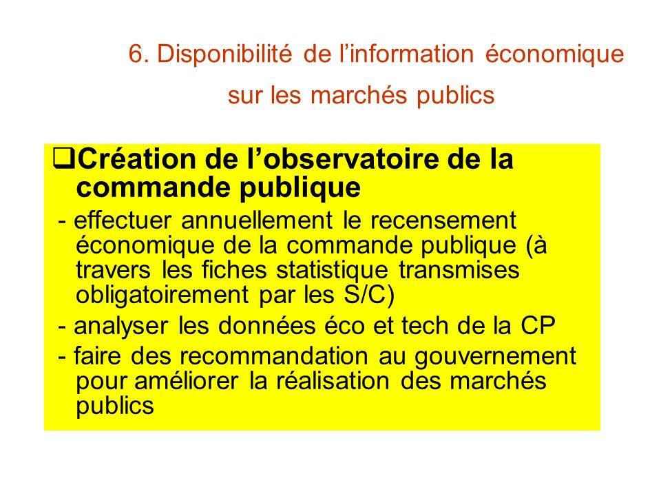 6. Disponibilité de linformation économique sur les marchés publics Création de lobservatoire de la commande publique - effectuer annuellement le rece