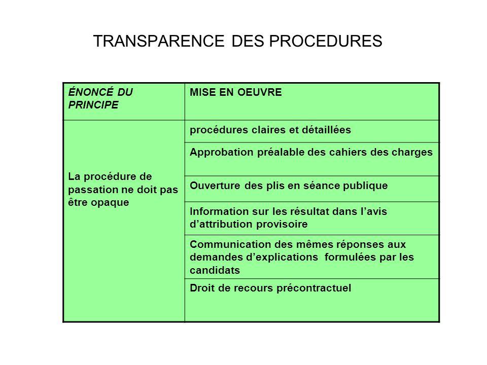 TRANSPARENCE DES PROCEDURES LE CADRE RÉGLEMENTAIRE ÉNONCÉ DU PRINCIPE MISE EN OEUVRE La procédure de passation ne doit pas être opaque procédures clai