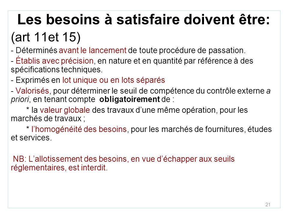 21 Les besoins à satisfaire doivent être: (art 11et 15) - Déterminés avant le lancement de toute procédure de passation.