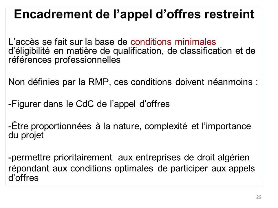 29 Encadrement de lappel doffres restreint Laccès se fait sur la base de conditions minimales déligibilité en matière de qualification, de classificat
