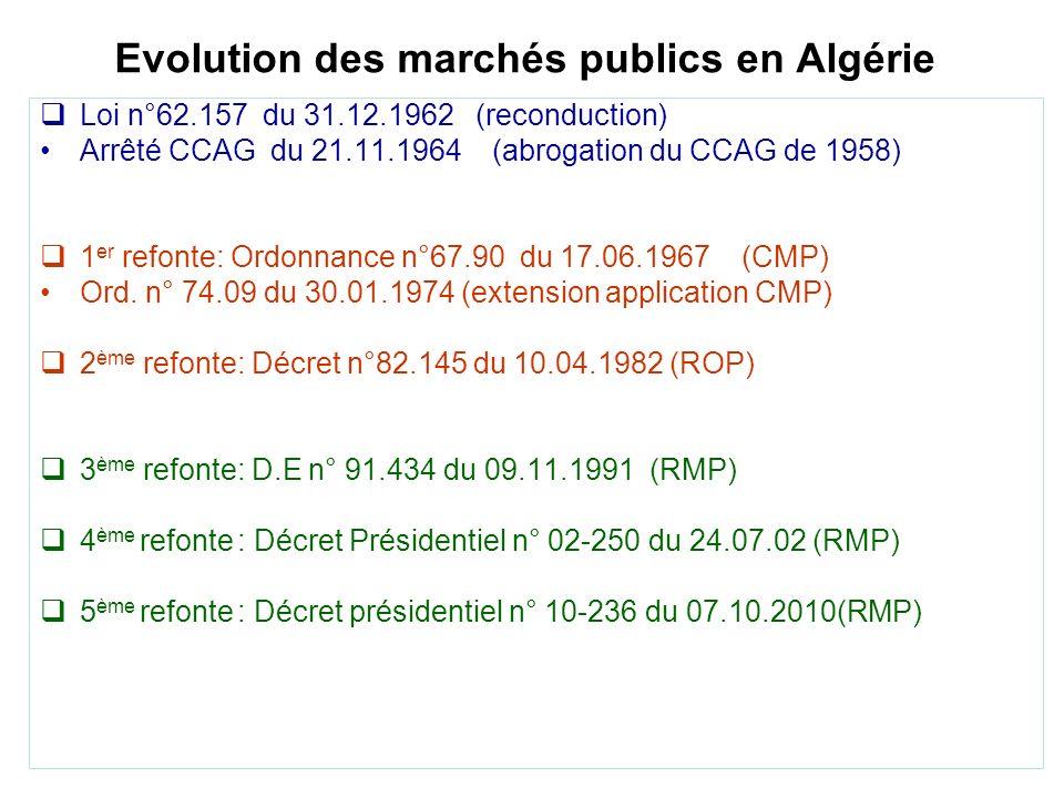 Evolution des marchés publics en Algérie Loi n°62.157 du 31.12.1962 (reconduction) Arrêté CCAG du 21.11.1964 (abrogation du CCAG de 1958) 1 er refonte: Ordonnance n°67.90 du 17.06.1967 (CMP) Ord.