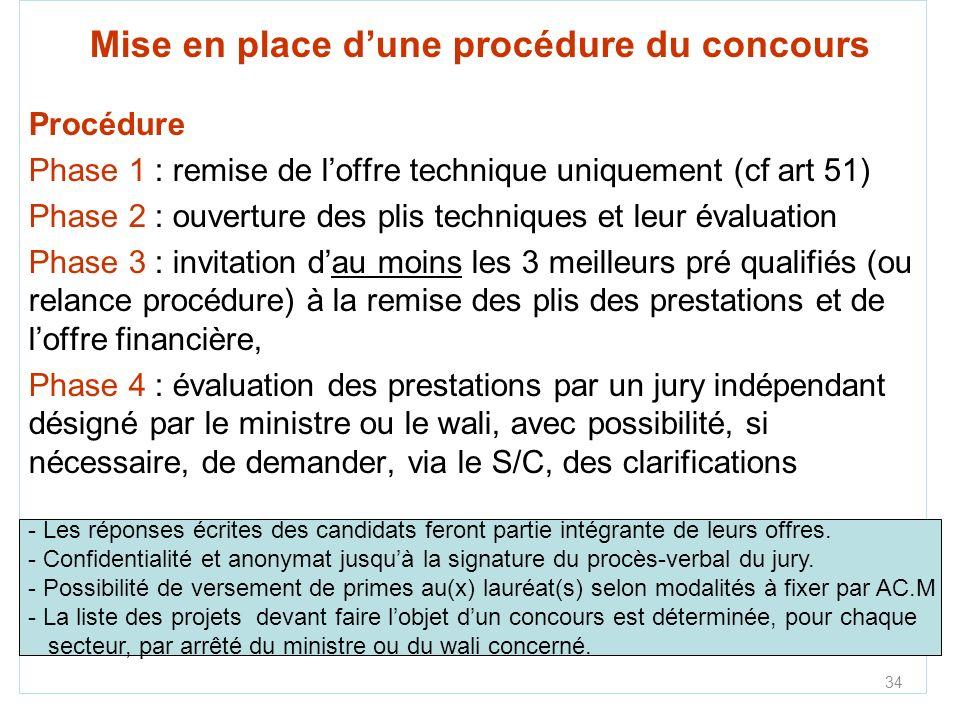 34 Mise en place dune procédure du concours Procédure Phase 1 : remise de loffre technique uniquement (cf art 51) Phase 2 : ouverture des plis techniq