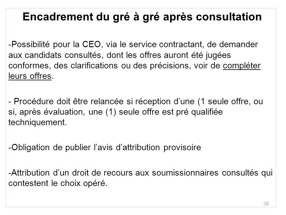 38 Encadrement du gré à gré après consultation -Possibilité pour la CEO, via le service contractant, de demander aux candidats consultés, dont les off