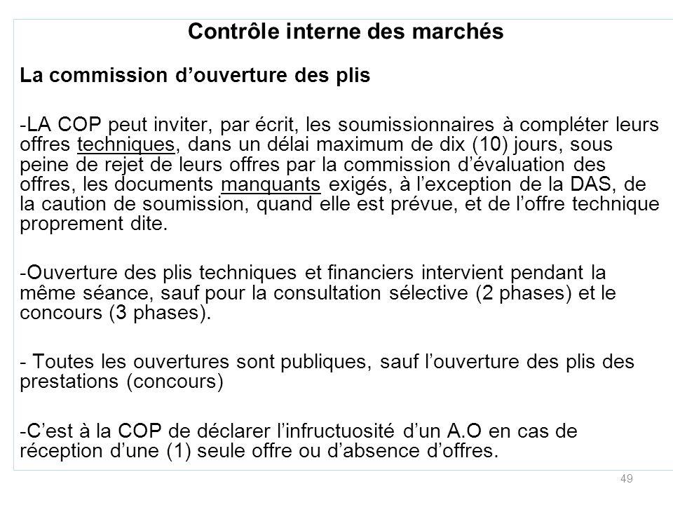 49 Contrôle interne des marchés La commission douverture des plis -LA COP peut inviter, par écrit, les soumissionnaires à compléter leurs offres techn