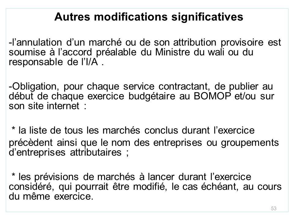 53 Autres modifications significatives -lannulation dun marché ou de son attribution provisoire est soumise à laccord préalable du Ministre du wali ou du responsable de lI/A.