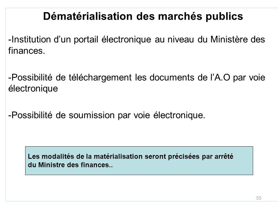 55 Dématérialisation des marchés publics -Institution dun portail électronique au niveau du Ministère des finances. -Possibilité de téléchargement les