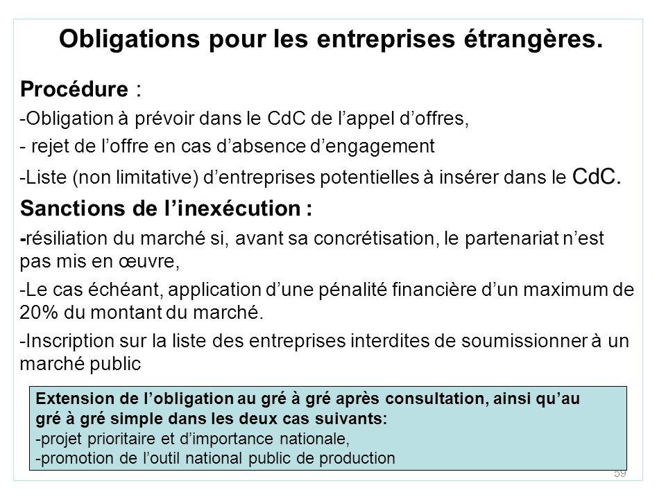 59 Obligations pour les entreprises étrangères. Procédure : -Obligation à prévoir dans le CdC de lappel doffres, - rejet de loffre en cas dabsence den