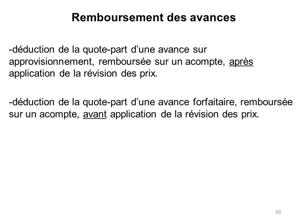 66 Remboursement des avances -déduction de la quote-part dune avance sur approvisionnement, remboursée sur un acompte, après application de la révision des prix.