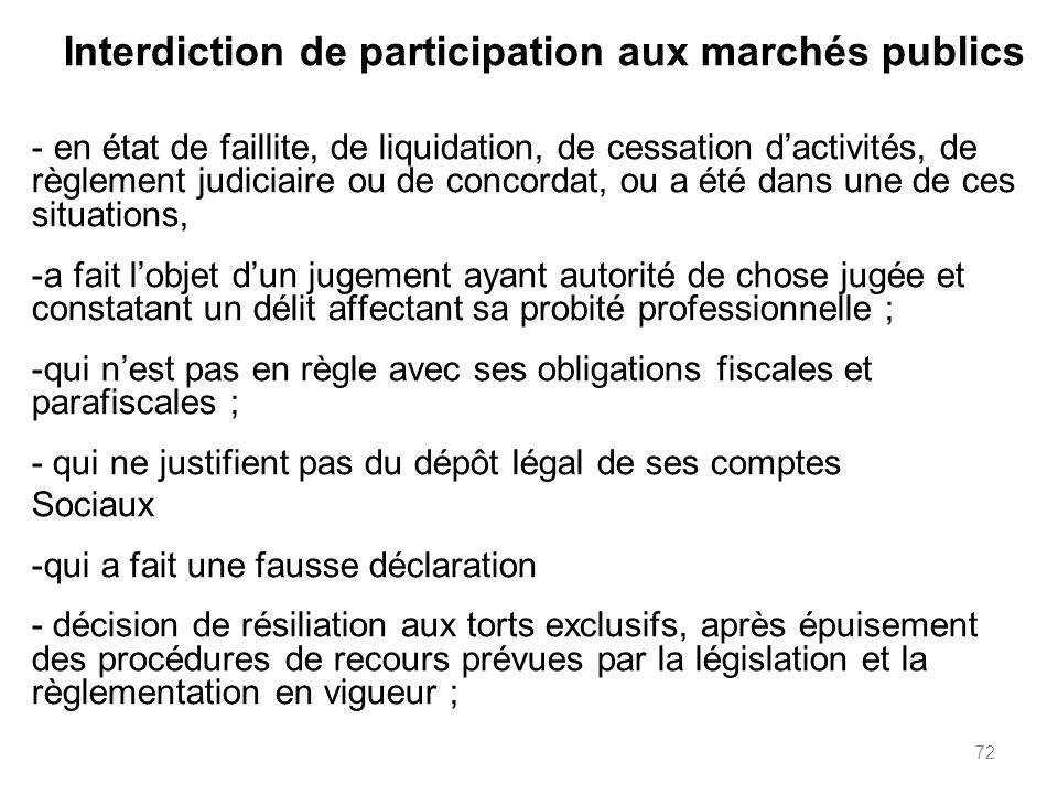 72 Interdiction de participation aux marchés publics - en état de faillite, de liquidation, de cessation dactivités, de règlement judiciaire ou de con