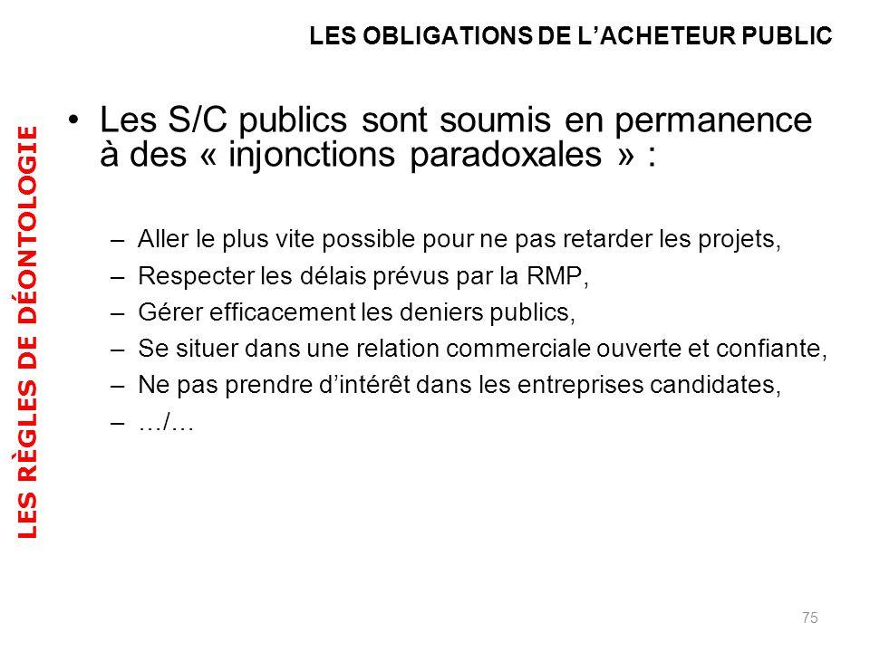 Les S/C publics sont soumis en permanence à des « injonctions paradoxales » : –Aller le plus vite possible pour ne pas retarder les projets, –Respecte