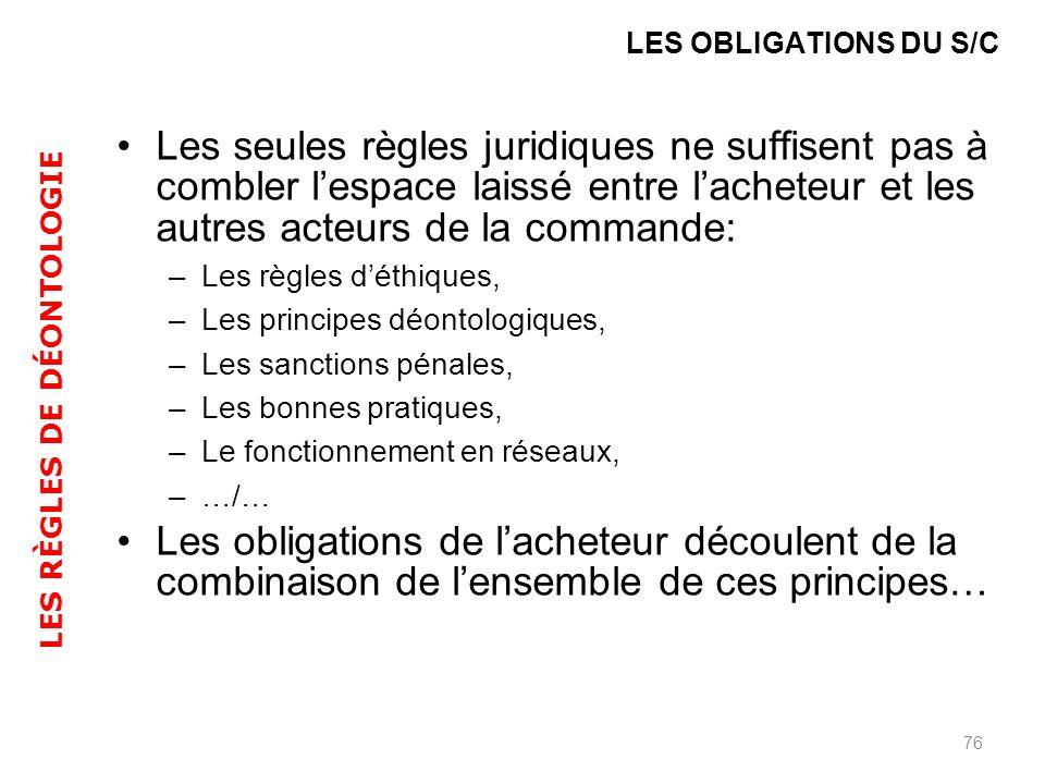 Les seules règles juridiques ne suffisent pas à combler lespace laissé entre lacheteur et les autres acteurs de la commande: –Les règles déthiques, –L