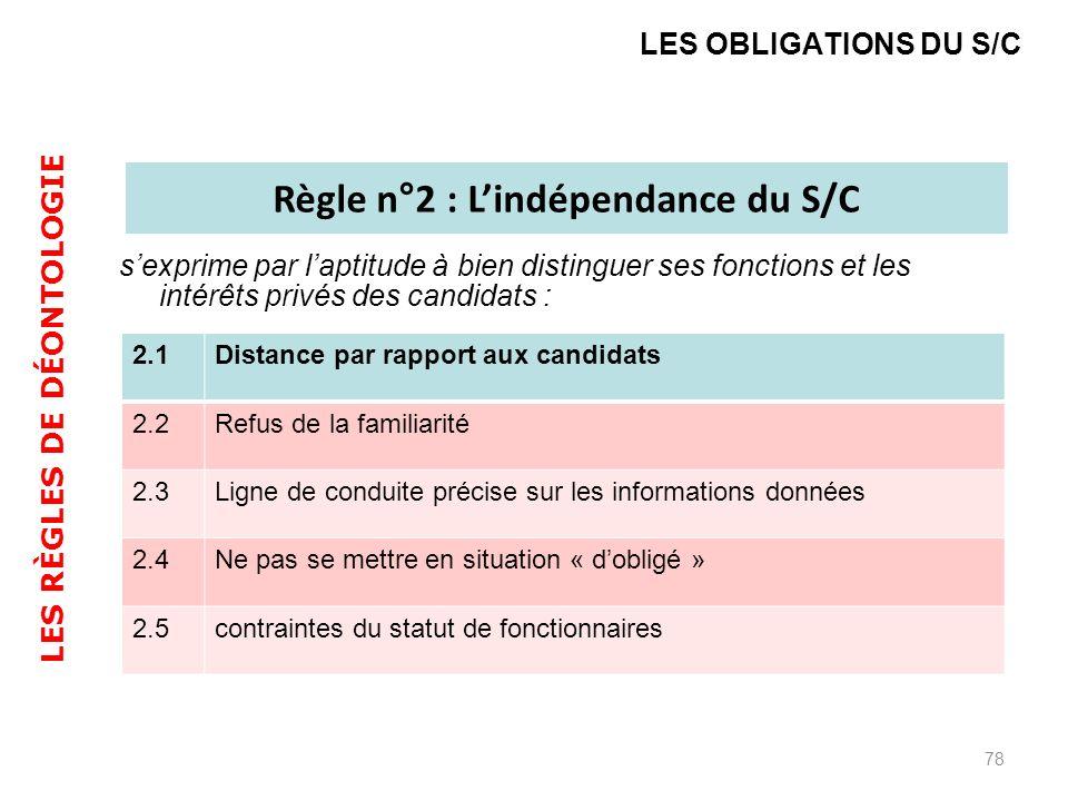 sexprime par laptitude à bien distinguer ses fonctions et les intérêts privés des candidats : 78 LES OBLIGATIONS DU S/C Règle n°2 : Lindépendance du S