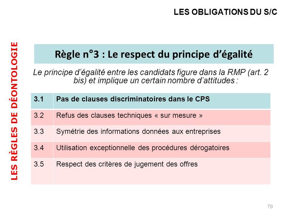 Le principe dégalité entre les candidats figure dans la RMP (art. 2 bis) et implique un certain nombre dattitudes : 79 LES OBLIGATIONS DU S/C Règle n°