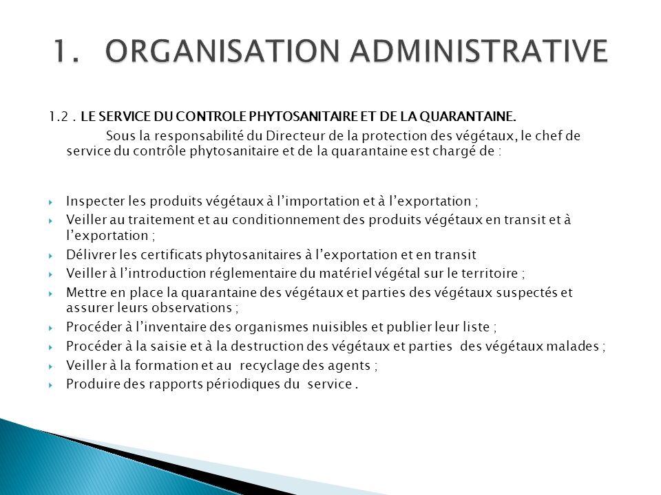1.2. LE SERVICE DU CONTROLE PHYTOSANITAIRE ET DE LA QUARANTAINE.