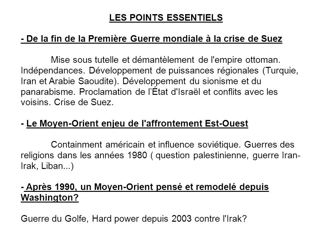 LES POINTS ESSENTIELS - De la fin de la Première Guerre mondiale à la crise de Suez Mise sous tutelle et démantèlement de l empire ottoman.