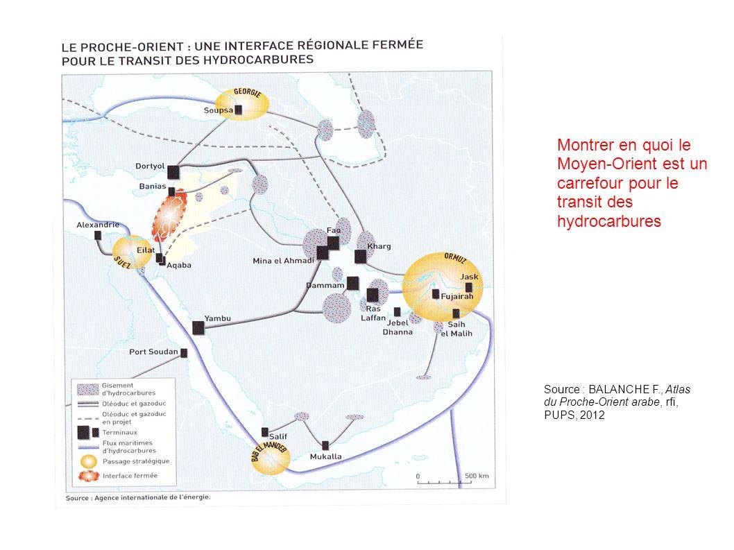 Source : BALANCHE F., Atlas du Proche-Orient arabe, rfi, PUPS, 2012 Montrer en quoi le Moyen-Orient est un carrefour pour le transit des hydrocarbures